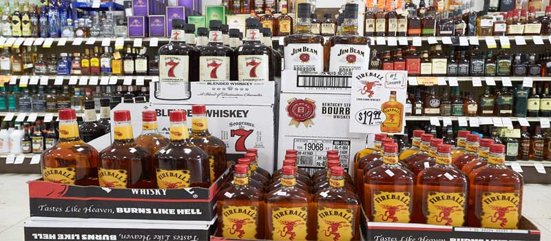 peters fireball whiskey display