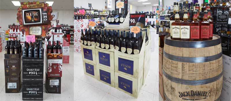 pters wine adn liquor displays