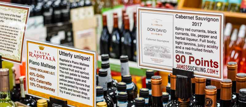 wine display signs